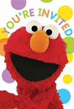 SESAME STREET ELMO BIRTHDAY PARTY SUPPLIES INVITATIONS WITH ENVELOPES 8 PACK