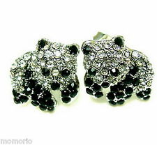 white gold plate crystals Zoo Panda Bear studs ear rings animal pet black bamboo