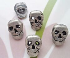 15pcs Metal Jeans Buttons Day Of The Dead Sugar Skull Antiqued Silver Black 12mm