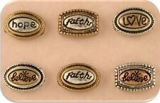 Beads Faith Hope Love Believe Ovals 3T Silver Copper Gold ~ 2 Hole Sliders QTY 6