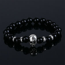 DF4 Natural Smooth Lava Stone Beads Black & Silver Skull Stretch Bracelet