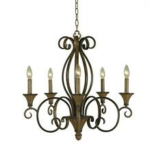 NEW Hampton Bay Chester 5-Light Aruba Teak Chandelier 937379