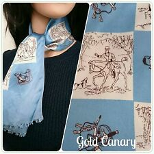 "Vintage 40s 50s Satin Blue Equestrian Horse Hunting Dog Neck Scarf 34"" Long"