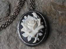 WHITE ROSE ON BLACK CAMEO ANTIQUED SILVER PLATED LOCKET -VINTAGE, GOTH, PUNK,