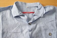 Q266 Signum Red - Größe M - strukturiert blau - Herren Hemd Kurzarm Herrenhemd