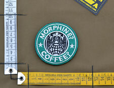 """Ricamata / Embroidered Patch PJ """"Morphine? Coffee?"""" with VELCRO® brand hook"""