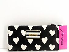 Betsey Johnson Bifold Wallet With Insert $65 Black White Hearts Clutch New! NWT