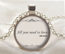 Book quote Cabochon Glass silver necklace for women men Jewelry Q#154