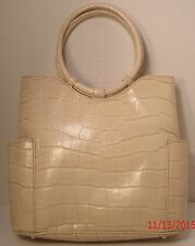 Maxx New York Beige Croco-Leather Satchel Tote Purse Hand Bag Round Handle
