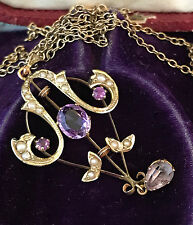 Victorian Art Nouveau 9ct Gold Amethyst & Seed Pearl Lavaliere C1900 Maker H & W