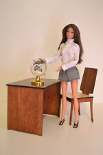 Set computer table & chair & globe for dolls 1:6 1/6 office furniture FR Barbie