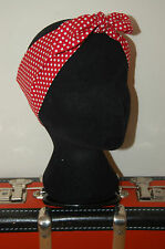Red white polka dot retro head scarf rockabilly 50s pin up hair wrap nautical