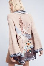 NWT Anthropologie Crane Embroidered Open Cardigan Sweater X-Large By Monogram