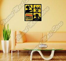 "Warning Zombie Outbreak Corpse Dead Wall Sticker Room Interior Decor 22""X22"""
