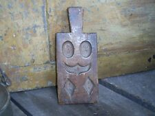 Antique Hand Carved Wood Maple Sugar Candy Mold w/Handle AAFA Folk Art Prim