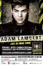 "ADAM LAMBERT ""LIVE IN HONG KONG"" 2013 CONCERT TOUR POSTER - Pop, Pop Rock Music"