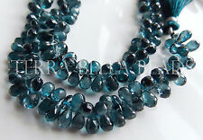 10 piece London blue TOPAZ faceted gem stone teardrop briolette beads 7mm - 8mm