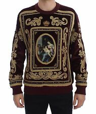 NEW $4600 DOLCE & GABBANA Sweater Velvet Gold Embroidered Royal Crown IT56 / XXL