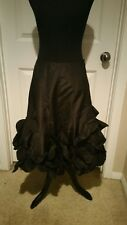 JON 100% SILK BLACK SKIRT SIZE 4 WITH RUFFLES ON THE BOTTOM
