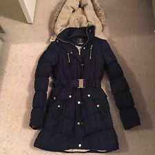 Lipsy Navy Blue Quilted Padded Fur Trim Parka Coat Size 8 Zara
