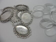 10 Silver Pendant Making Set,10 Settings & 10 Cabochons.39x29mm,tray 25x18mm