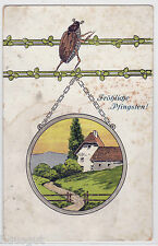 Fröhliche Pfingsten Maikäfer mit Landschaftsbild Präge AK um 1900