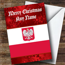 Polish Flag / Poland Personalised Christmas Greetings Card