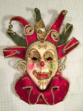 Vintage Hand-Made JOKER/JESTER Venetian Carnevale MASQUERADE MASK Wear/Wall-Hang