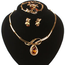 Fashion Women Gold/Plated Champagne Gem Crystal Necklace Earring Jewelry Set