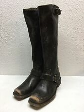 #2 Frye Engineer Black Distressed Leather Mid Calf Boots Womens Size 6 B