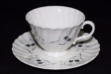 Royal Doulton, MILLEFLEUR, Gray/Blue Flowers, Swirled, Cup & Saucer Set