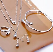 4 Pieces Jewelry Set 925 Sterling Silver Ring Necklace Earring Bracelet Cocktail