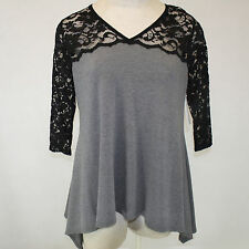NEW NWT Karen Kane Plus Size Gray Lace Top High-Low Tunic Blouse 1X Made in USA