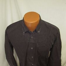 (Medium) Men's facconable Brown Striped Long Sleeve Shirt