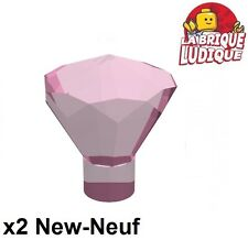 Lego - 2x rock crystal cristal jewel diamant rose f. trans dark pink 30153 NEUF