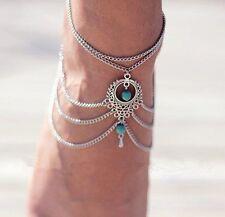 *UK* Ladies Ethnic anklet Boho Tassel Chain Turquoise Bracelet Foot gift silver.