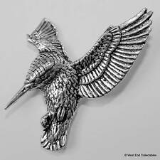 Hovering Kingfisher Pewter Pin Brooch - British Hand Crafted- River Humming Bird
