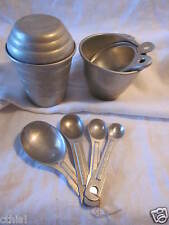 Vintage Aluminum Mirro 1 Cup Measuring Shaker+ 4 Spoons Ring + Short Cups Lot 8