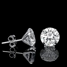 1CT BRILLIANT MARTINI EARRINGS 14K WHITE GOLD PRONG SOLITAIRE ROUND CUT STUDS