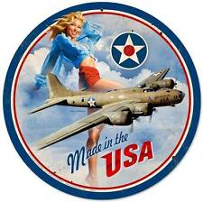Made In The USA Pin Up Girl Vintage Distressed Round Metal Sign Wall Decor HB084