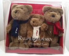 Ralph Lauren Polo The Bears That Care Box Set of 3 Brown Teddy Bears New Stuffed