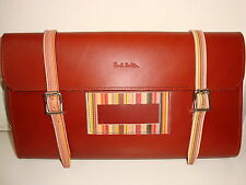 Paul Smith BROWN & SIGNATURE STRIPES LEATHER BIKE TOOL CASE Cycle Wallet Bag