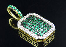 Yellow Gold Finish Pillow Green Simulated Diamond White Border Pendant Brass 1""