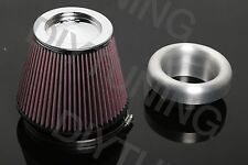 "UNIVERSAL ALUMINUM AIR INTAKE VELOCITY STACK 4"" SILVER BWR W K&N 6"" AIR FILTER"