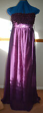 Purple Chiffon floaty skirt Maxi Dress Pearl effect bead flowers Punkyfish Sz10