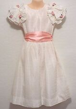 Vtg SYLVIA WHYTE Girls 7 White Taffeta Elegant Party Dress Communion Flower Girl