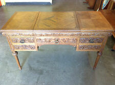 Intricately Carved Beautiful Renaissance style Oak Desk with five drawers -JPS