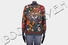 GUCCI 1500$ Authentic New Floral Printed Cotton Tiger Embroidery Sweatshirt sz M