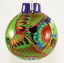 Mexican Christmas Ornament Decoration Painted Clay Pottery Handmade Mexico Green