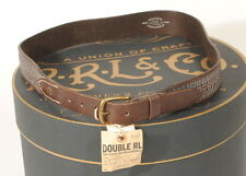 RRL Double RL Ralph Lauren Folsom Brown Leather Belt ~ Tooled ~ 36 NWT A2D